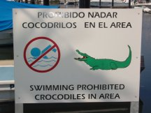 Sign posted on our dock at Ixtapa