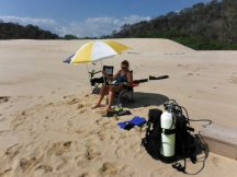 Jan chilling after diving, at our privet bay-Bahia Chachacual
