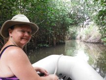 Jan Looking for crocks in Tenacatita mangroves